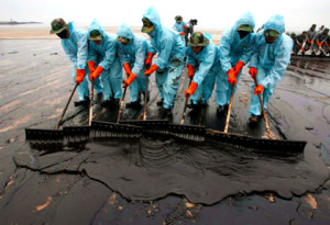 Oil spill clean up with seven HAZWOPER-certified workers